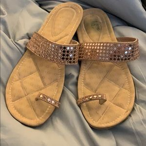 Forever Size 10 Rose Gold Sparkle Sandals